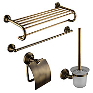 cheap Antique Brass Series-Bathroom Accessory Set Contemporary Brass 4pcs - Hotel bath Toilet Brush Holder / tower bar / Toilet Paper Holders