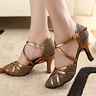 cheap Customized Dance Shoes-Women's Modern Ballroom Sparkling Glitter Leatherette Heel Customized Heel Bronze Gold Customizable