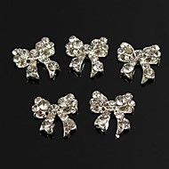 10pcs Bling Charm Bowknot Full Clear Rhinestones 3D Alloy Nail Art Decoration