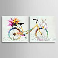 voordelige Stillevens schilderijen-Handgeschilderde Pop Art Horizontaal, Klassiek Kangas Hang-geschilderd olieverfschilderij Huisdecoratie Twee panelen