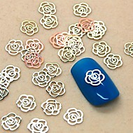 200PCS Hollow Flower Shape Golden Metal Slice Nail Art Decoration