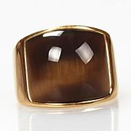 Herre Statement Ring - Titanium Stål, Opal Vintage, Mode 7 / 8 / 9 Gylden Til Julegaver / Daglig