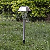 1-LED WHTEソーラーステンレス鋼芝生ライト経路ガーデンランプ