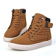 Heren Sneakers Comfortabel Vulcanized Shoes Suède Lente Zomer Herfst Winter Causaal Comfortabel Vulcanized Shoes Veters Platte hakZwart