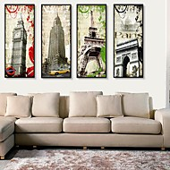 Arkitektur Innrammet Lerret / Innrammet Sett Wall Art,PVC Svart Ingen Passpartou med Frame Wall Art