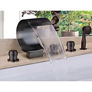 お買い得  浴槽用蛇口-コンテンポラリー バスタブとシャワー 滝状吐水タイプ ハンドシャワーは含まれている with  セラミックバルブ 五つ 二つのハンドル5つの穴 for  オイルブロンズ , シャワー水栓 浴槽用水栓