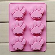 Tlapa tvaru dort ice želé čokoládové formy 6 díra kočky, silikonové 18,5 × 14,1 × 1,6 cm (7,3 × 5,6 × 0,6 palce)