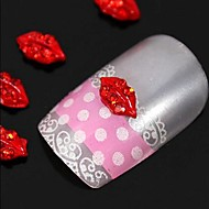 10st sexy rode lippen 3d diy strass legering parel accessoires nail art decoratie