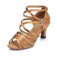baratos Sapatilhas de Dança-Mulheres Sapatos de Dança Latina Seda Cruzado Salto Cubano Personalizável Sapatos de Dança Preto / Marron / Espetáculo / Couro