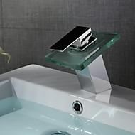 Contemporâneo Conjunto Central LED / Cascata with  Válvula Cerâmica Single Handle Uma Abertura for  Cromado , Torneira pia do banheiro