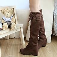 レディース 靴 フェイクスエード 春 秋 冬 ウェッジヒール ニーハイブーツ リボン 用途 ドレスシューズ ブラック ブラウン ベージュ イエロー
