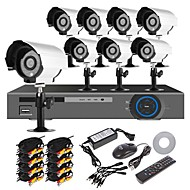 cheap DVR Kits-Home Security System 16CH H.264 DVR Kit (8pcs 700TVL IR-cut Outdoor Waterproof Camera system, HDMI, USB 3G Wifi)