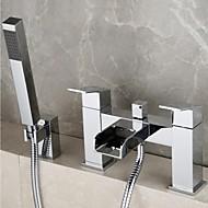 Kortárs Kifolyócső és zuhany Vízesés Kézi zuhanyzót tartalmaz with  Réz szelep Két lyuk Két fogantyúval két lyukat for  Króm , Zuhany