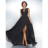 A-line mücevher boynuzu süpürme / fırça tren şifon payetli gece elbisesi ts couture®