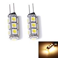 baratos -G4 Luminárias de LED  Duplo-Pin 13 leds SMD 5050 Branco Quente 130~150lm 3000~3500K DC 12V