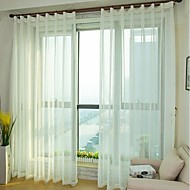 To paneler Window Treatment Moderne , Solid Soverom Lin/ Polyester Blanding Materiale Gardiner Skygge Hjem Dekor For Vindu