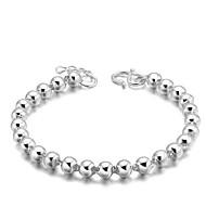 hesapli Vintage Bilezikler-Kadın's Zincir & Halka Bileklikler Vintage Sevimli Parti İş Günlük Temel minimalist tarzı Som Gümüş Gümüş Kaplama Circle Shape Mücevher