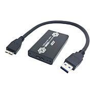 couleur noire 50mm Mini PCI-e mSATA SSD 6Gbps solide de l'Etat à l'USB 3.0 disque dur cas boîtier