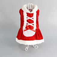 Χαμηλού Κόστους Χριστουγεννιάτικα κοστούμια για κατοικ-Γάτα Σκύλος Φορέματα Ρούχα για σκύλους Κόκκινο Βαμβάκι Στολές Για κατοικίδια Γυναικεία Γάμος Χριστούγεννα
