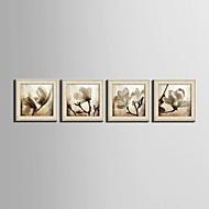 hesapli Tablolar-Çiçek/Botanik Fantezi Çerçeveli Tuval Çerçeve Seti Duvar Sanatı,PVC Malzeme Bej Keçesiz Frame ile For Ev dekorasyonu çerçeve Sanat