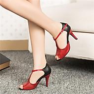 Može se prilagoditi - Ženske - Plesne cipele - Latin - Vještačka koža / Šljokice - Prilagođeno Heel - Crn / crven