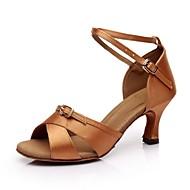 abordables Chaussures de Danse-Femme Chaussures Latines Satin Sandale Boucle Talon Personnalisé Personnalisables Chaussures de danse Noir / Marron / Cuir