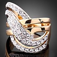 Žene Prsten Izjave Luksuz Moda Kubični Zirconia Pozlaćeni 24K Plated Gold Imitacija dijamanta Legura Nakit odjeće Party