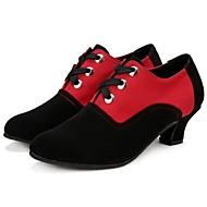billige Moderne sko-Dame Moderne sko Semsket lær Høye hæler Lav hæl Kan ikke spesialtilpasses Dansesko Svart og Rød / Brun