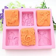 piano gitar notater formet  kake sjokolade silikon Form kake dekorasjon verktøy, l13.7cm * b11.6cm * h2.8cm