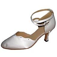 Kan spesialtilpasses-Dame-Dansesko-Moderne-Sateng-Kustomisert hæl-Hvitt