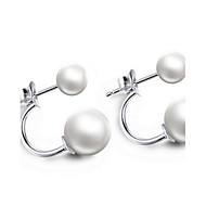 Perle Lyserød Dråbeøreringe - Sølv Hvid Til