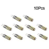 billige Bi-pin lamper med LED-10pcs 1W 300 lm G4 LED-kornpærer T 24 leds SMD 3014 Varm hvit Kjølig hvit DC 12 V