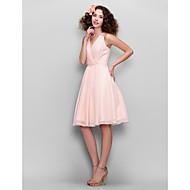 A-kroj Haljina sa širokom suknjom V izrez Do koljena Šifon Haljina za djeverušu s Perlica Čipka Križano po TS Couture®