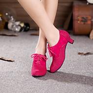 baratos Sapatilhas de Dança-Mulheres Sapatos de Dança Moderna / Dança de Salão Camurça Salto Cadarço Salto Cubano Não Personalizável Sapatos de Dança Marrom / Fúcsia