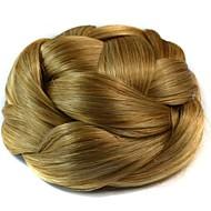 בלונד קינקי קרלי גולגול תסרוקת גבוהה קלוע שיניון (פקעת) נתפס עם קליפס שיער סינטטי חתיכת שיער הַאֲרָכַת שֵׂעָר