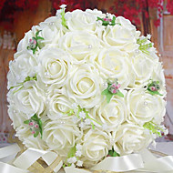 A Bouquet of 30 PE Simulation Roses Wedding Bouquet Wedding Bride Holding Flowers,White