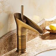 伝統風 センターセット セラミックバルブ 一つ シングルハンドルつの穴 for  アンティーク真鍮 , バスルームのシンクの蛇口