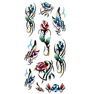 1pc Women's Waterproof Temporary Tattoos Finger/Neck Tattoos Small Rose Butterfly Bracelet Body Tattoos(18.5cm*8.5cm)