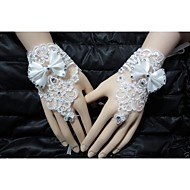 cheap Wedding Gloves-Wrist Length Glove Bridal Gloves Party/ Evening Gloves With Rhinestone Bow