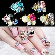 White Lovely/Wedding Finger/Toe Nail Jewelry/Glitter Metal 5PCS 4*3*1