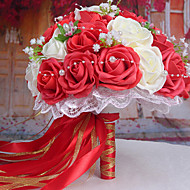 A Bouquet of 30 PE Simulation Roses Wedding Bouquet Wedding Bride Holding Flowers,Red and White