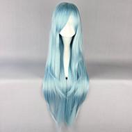 Syntetiske parykker Lige Frisure i lag Syntetisk hår 30 inch Natural Hairline Blåt Paryk Dame Lang Lågløs Himmelblå