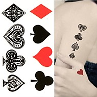 타투 스티커 - Non Toxic/허리 아래/Waterproof - Totem Series - 여성/남성/어른/Teen - 블랙/그린 - 종이 - 1 pc - 6*10.5cm (2.36*4.13in) - Poker Heart Spade Club Diamond