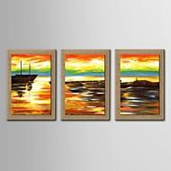 3手の油絵現代抽象海景セットがストレッチフレームとの自然なリネンを描いた