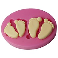 FOUR-C Silicone Embossing Mold Baby Feet Fondant And Gum Paste Mould Color Pink SM-419