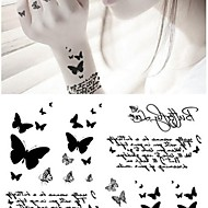 Fashion Personality Black Butterfly Tattoo Stickers Temporary Tattoos(1 pc)