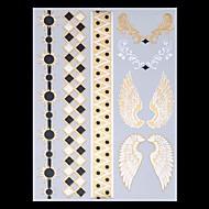 9PCS混合パターンの一時的な入れ墨メタリックゴールドの入れ墨のフラッシュの入れ墨羽の羽の結婚式のパーティーの入れ墨