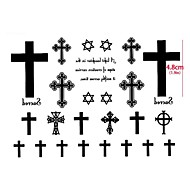 1 Pc the Cross Hexagram Star Totem Tattoo Stickers Temporary Tattoos