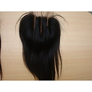 "Brazilian Virgin Hair Natural Colour Hair Pieces Lace Closure 3.5""x4"" Natural Straight 3 Part 8"" 1Pc"