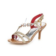 Women's Sandals Summer Comfort PU Dress Casual Party & Evening Stiletto Heel Crystal Buckle Gold Silver Red Walking